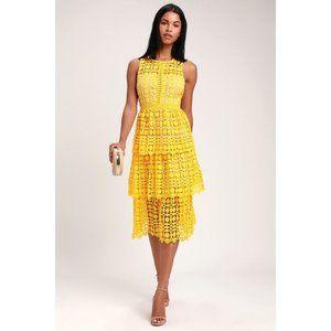 NWT Lulus Larissa Yellow Crochet Lace Midi Dress M